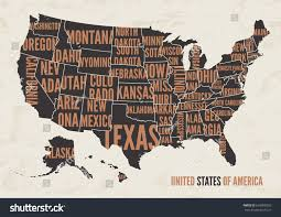 map of us states poster united states america map print poster stock vector 639068359