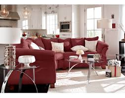 3 pc red sectional and ottoman solace poppy ii living room set