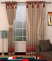 28 red and beige curtains bird floral vine red cream beige