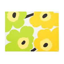 marimekko unikko yellow lime pvc coated placemat marimekko sale
