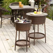 Patio Table Cooler by Brooke All Weather Wicker Patio Dining Set Seats 6 Hayneedle