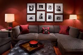 Red Sofa In Living Room by Red Wall Living Room