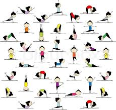 yoga poses pictures printable people practicing yoga 25 poses for your design stock vector