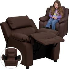 Contemporary Recliners Flash Furniture Deluxe Padded Contemporary Brown Leather Kids
