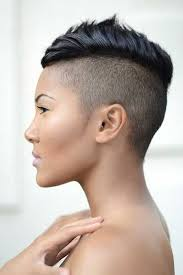 long choppy haircuts with side shaved short pixie black haircut with shaved sides and back and mohawk