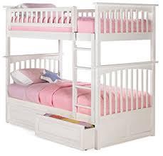 Amazoncom Columbia Bunk Bed With  Raised Panel Bed Drawers - White bunk bed with drawers