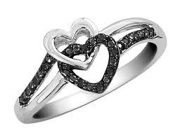 black diamond promise ring black diamond heart promise ring in sterling silver 69 99