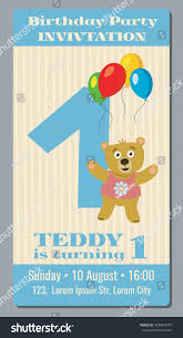 birthday party invitation card cute bear stock vector 458464747
