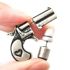 bullet stud earrings unique gun and bullet stud earrings in silver on storenvy