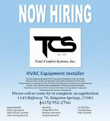 Total Comfort Hvac Total Comfort Systems Inc Heating Ventilating U0026 Air