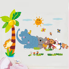 cute elephant bear monkey rabbit jungle zoo wall decals easy