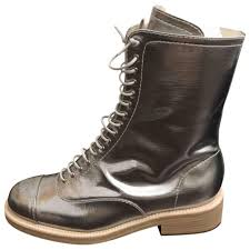 brown leather biker boots silver plain leather chanel boots vestiaire collective