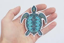 sea turtle sticker hand drawn turtle laptop sticker trippy