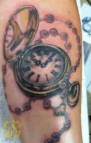 amazing pocket watch with rosary tattoo design by sean ambrose