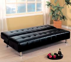 Black Faux Leather Sofa Simple Living Room With Ikea Convertible Black Faux Leather
