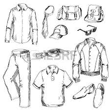 set of clothes for men pen sketch converted to vectors royalty