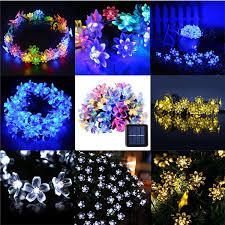 solar powered string lights 30 led blossom flower solar powered garden fairy string lights
