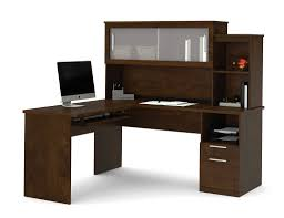 L Shaped Modern Desk by Modern Chocolate L Shaped Desk And Hutch With Frosted Glass Doors