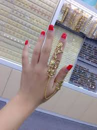 cool finger rings images Sweet sytle feather man woman gold silver plated chain rose two jpg