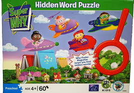 amazon com super why flying over town 60 pc hidden word jigsaw