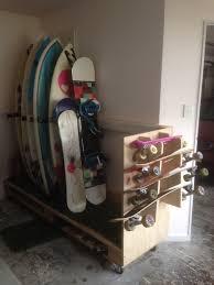 Skateboard Bedroom Ideas Diy Surfboard Snowboard Skateboard Storage Stand Made From