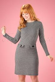 houndstooth dress 60s helen a line dress in houndstooth