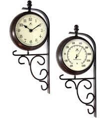 Patio Clock And Thermometer Sets by Double Sided Clock And Thermometer In Outdoor Clocks