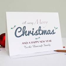 personalised merry christmas and happy new year card by martha