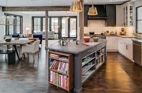 Kitchen Island With Open Shelves Gray Island With Open Shelves Portable Bookshelf White Tile