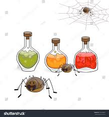 halloween drinks clipart spiders bubbles potion poison elements collection stock vector