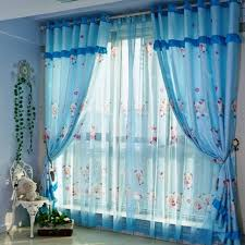 Sheer Blue Curtain Design With Cartoon Characters Kids Room - Kids room curtain ideas