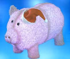pre lit led outdoor chenille pig in santa hat