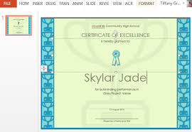certificate of excellence template for powerpoint