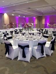 white spandex chair covers black crinkle taffeta sashes and white spandex chair covers