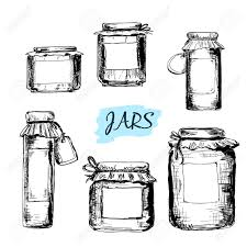 jars with labels set of hand drawn illustrations royalty free