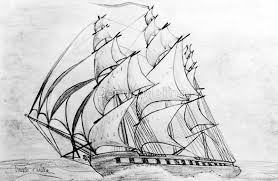 graphite pencil drawing of a clipper ship at top speed