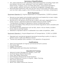 exle of a customer service resume resume for heavy equipment operator paso evolist co