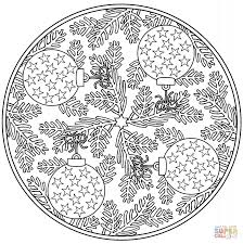 christmas mandala with birds and snowflake coloring page in