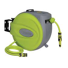 water hose reel wall mount verve auto rewind garden hose reel l 25 m departments diy at b u0026q