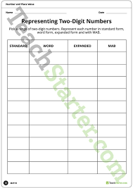 place value standard form worksheets representing two digit numbers place value worksheet teaching
