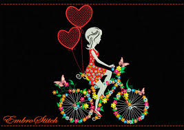on bike and heart in flowers and butterflies embroidery