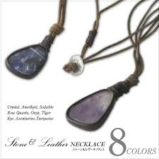 stone leather necklace images Gjstore rakuten global market leather amp stone necklace and jpg