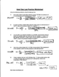 ideal gas law key ldeal gas layv practice worltsheet so ve the