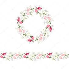 floral round garland and endless pattern brush made of red and
