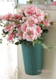 shabby flowers cottage shabby chic hanging basket pink flowers photograph by