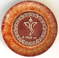 indian 7 u2033 terracotta plate art handmade ganesh clay pottery home