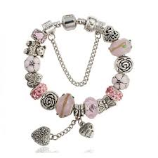glass bead bracelet charms images European charm bracelet with heart made with love jpg