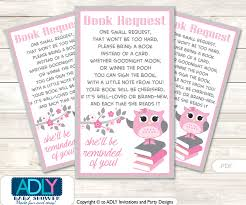 bring book instead of card to baby shower request a book instead of a card for owl baby shower or