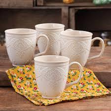 the pioneer woman farmhouse lace mug set 4 pack walmart com