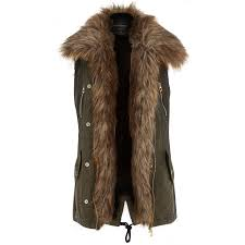 river island khaki faux fur lined gilet in natural lyst